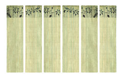 Ink flower print on bamboo paper banner set stock photos