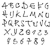 Ink font and number alphabet over white Royalty Free Stock Photos