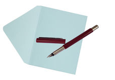 Ink fountain pen with envelope Stock Image