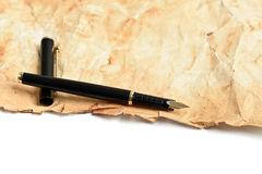 Ink fountain pen on grunge old paper Royalty Free Stock Image