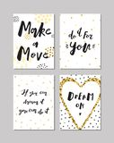 Ink and gold hand drawn vector posters. Proverbs & sayings. Black ink, white and gold glitter hand drawn doodle vector posters. Proverbs and sayings royalty free illustration