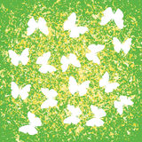 Ink golden green splat and butterfly background Royalty Free Stock Photos