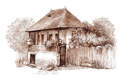 Ink hand drawing country architectural landscape. Pen hand drawing of a rural architectural landscape, which shows an old romanian house from Vallachia (nowadays Stock Photos