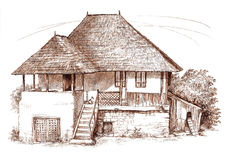 Ink hand drawing country house landscape Stock Photo