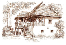Ink hand drawing country house landscape Royalty Free Stock Images