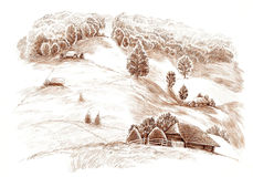 Ink hand drawing country landscape Stock Photography