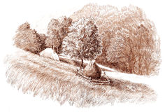 Ink hand drawing country landscape Royalty Free Stock Photography