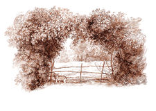 Ink hand drawing country landscape. Pen hand drawing of a rural landscape Stock Images