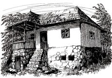 Ink hand drawing countryside landscape with an old house. Ink hand drawing with an old traditional house from Romania Stock Photo