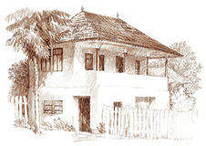 Ink hand drawing house landscape Royalty Free Stock Photo