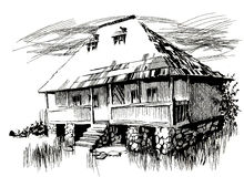 Ink hand drawing landscape with an old house. Ink hand drawing landscape with an old traditional house from Romania Royalty Free Stock Images