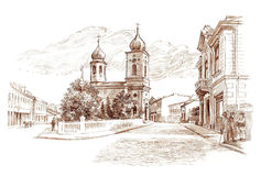 Ink hand drawing lost city landscape with church Stock Image