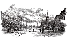 Ink hand drawing of an old city landscape Stock Photography