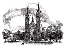 Ink hand drawing of an old city landscape Royalty Free Stock Photos