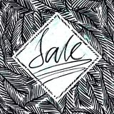 Ink hand drawn background with Sale lettering on the fir tree branches seamless pattern. Ready for cards, posters, other prints etc Royalty Free Stock Photos