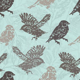 Ink hand drawn birds seamless pattern Royalty Free Stock Photography