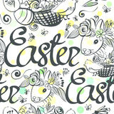 Ink hand drawn black and white Easter seamless pattern. For textile, wallpaper, wrapping, web backgrounds and other pattern fills Stock Photo
