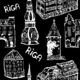 Black and white seamless pattern of Rigas old town buildings vector illustration
