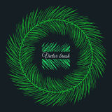 Ink hand drawn christmas tree vector brush for borders and frame Royalty Free Stock Photos