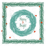 Ink hand drawn christmas tree vector brushes for festive borders Stock Image
