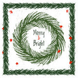 Ink hand drawn christmas tree vector brushes for festive borders Stock Photo
