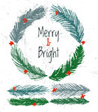 Ink hand drawn christmas tree vector brushes for festive borders Stock Photos