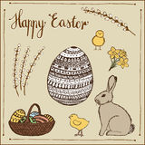 Ink hand-drawn Easter set. Royalty Free Stock Photos