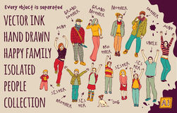 Ink hand drawn family  people set. Stock Photos
