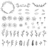 Ink hand drawn florals Royalty Free Stock Photos