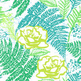 Ink hand drawn green foliage seamless pattern with fern and rose Royalty Free Stock Image