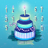 Ink hand drawn Happy Birthday Cake and Candles numbers set Royalty Free Stock Images