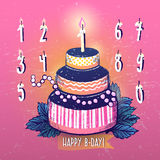 Ink hand drawn Happy Birthday Cake and Candles numbers set Stock Photography