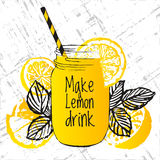 Ink hand drawn illustration with lemon drink, lemons and tea leaves. Vector illustration about healthy lifestyle, healthy drinks Stock Photo
