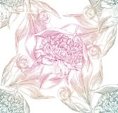 Ink hand drawn illustrations of ornate peonies, pattern Stock Photo