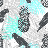 Ink hand drawn Jungle seamless pattern with Parrots and Pineappl Stock Photo