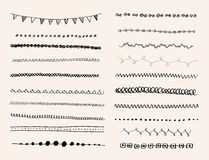 Ink hand-drawn line border set. Royalty Free Stock Photo