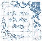 Ink hand-drawn line border set Stock Photos