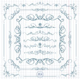 Ink hand-drawn  line border set Royalty Free Stock Images
