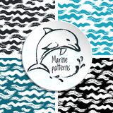 Ink hand drawn marine seamless pattern. For textile, wallpaper, wrapping, web backgrounds and other pattern fills Royalty Free Stock Image