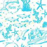 Ink hand drawn marine world seamless pattern. For textile, wallpaper, wrapping, web backgrounds and other pattern fills Royalty Free Stock Images