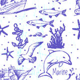 Ink hand drawn marine world seamless pattern. For textile, wallpaper, wrapping, web backgrounds and other pattern fills Royalty Free Stock Photo