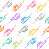 Ink hand drawn parrots seamless pattern Royalty Free Stock Photos