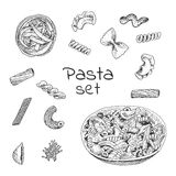 Ink hand drawn pasta variations set. Engraving style. It can be used for menu design, package. food background etc Royalty Free Stock Photography