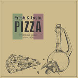 Ink hand drawn pizza package box template Stock Images
