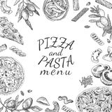 Ink hand drawn pizza and pasta menu template. Engraving old-fashioned vintage style Royalty Free Stock Images