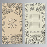 Ink hand drawn pizza and pasta menu template Stock Image