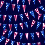 Ink hand drawn seamless pattern with american flag garland on July 4th royalty free illustration