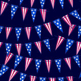 Ink hand drawn seamless pattern with american flag garland on 4t. For textile, wallpaper, wrapping, web backgrounds and other pattern fills Royalty Free Stock Photos