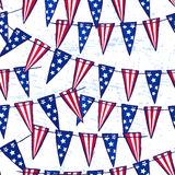 Ink hand drawn seamless pattern with american flag garland. For textile, wallpaper, wrapping, web backgrounds and other pattern fills Stock Photos