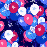 Ink hand drawn seamless pattern with balloons on 4th of July Royalty Free Stock Photos